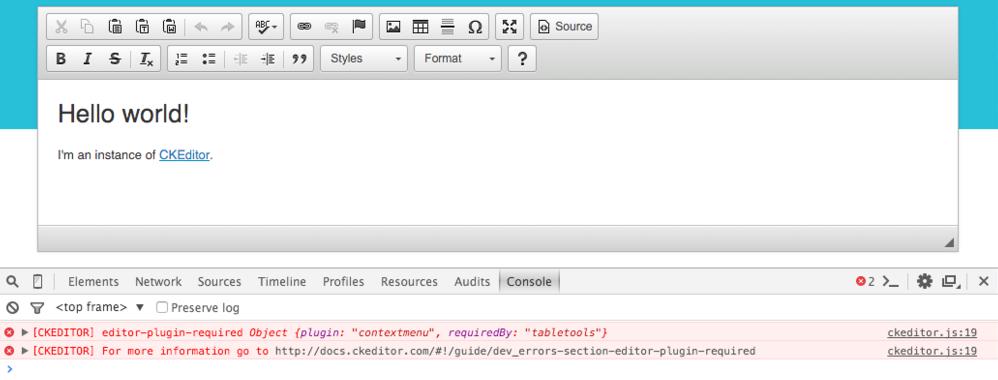 CKEditor 4.5.4 error logging system