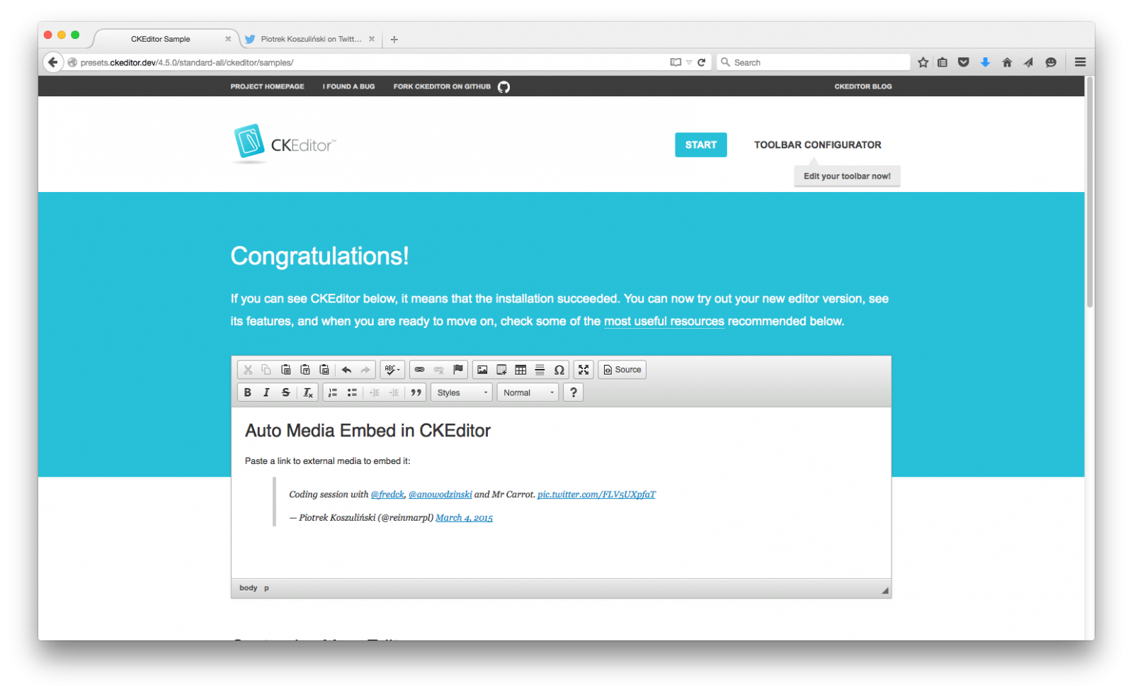 CKEditor 4.5 with Auto Media Embed plugin