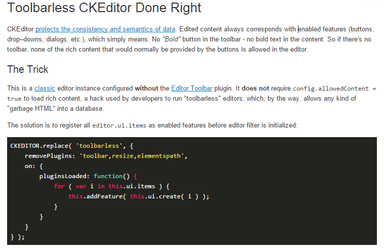 Toolbarless CKEditor done right!