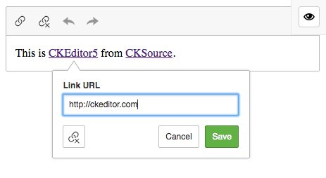 CKEditor 5 Link Feature Screenshot