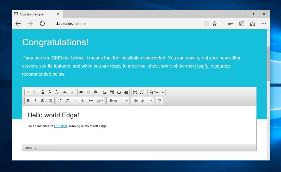 CKEditor running in Microsoft Edge