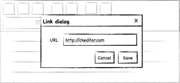 CKEditor 5 UX Discussion Link Dialog Sketch