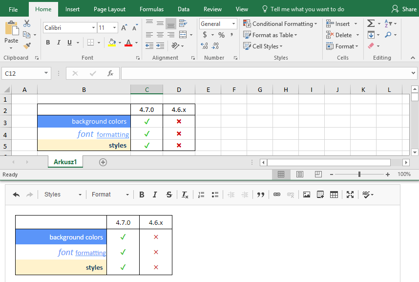 Paste from Excel screenshot