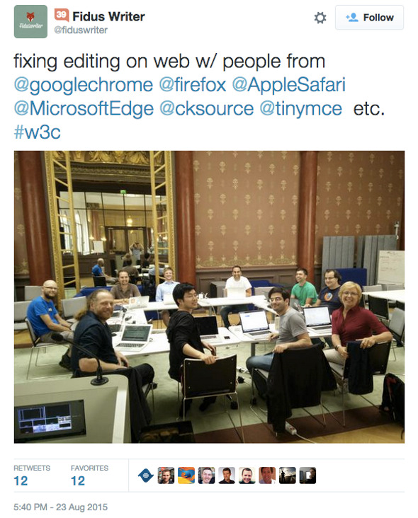 Screenshot of W3C Editing Task Force meeting tweet