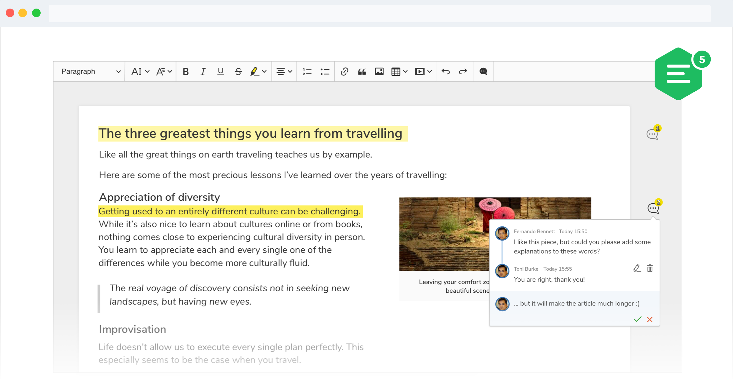 CKEditor 5 WYSIWYG editor narrow sidebar feature screenshot