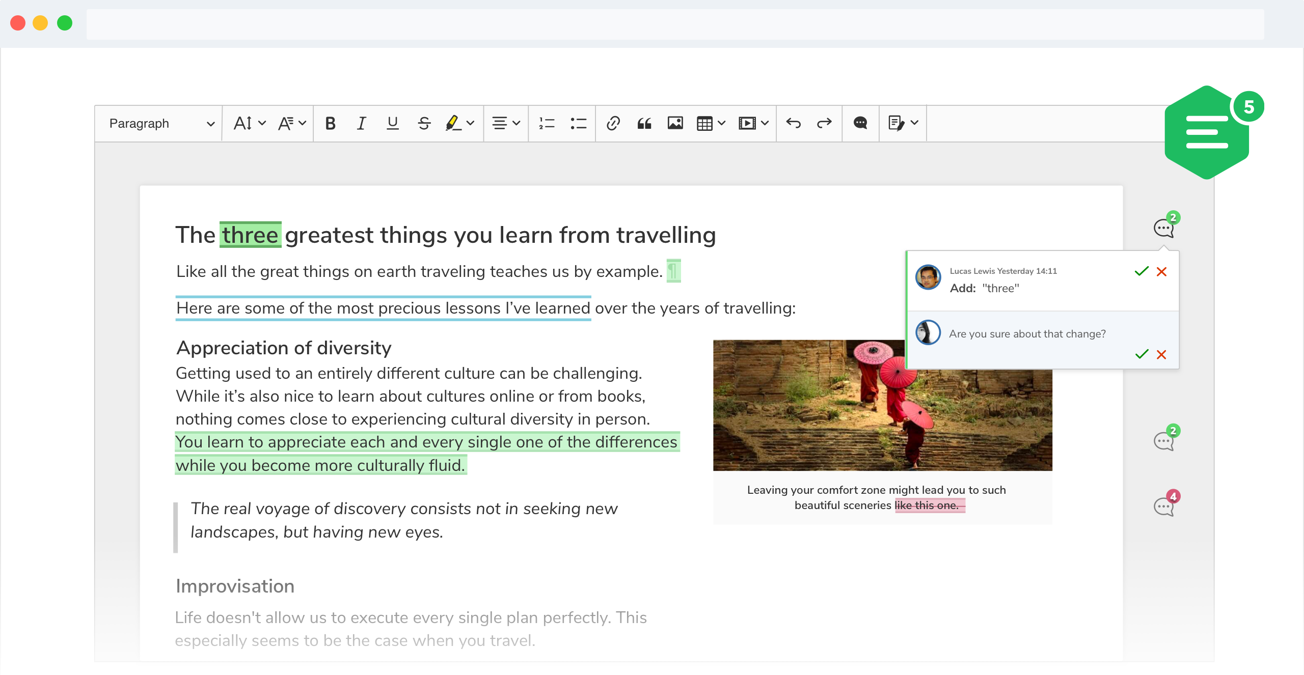 A screenshot of CKEditor 5 track changes feature with suggestions displayed in the narrow sidebar