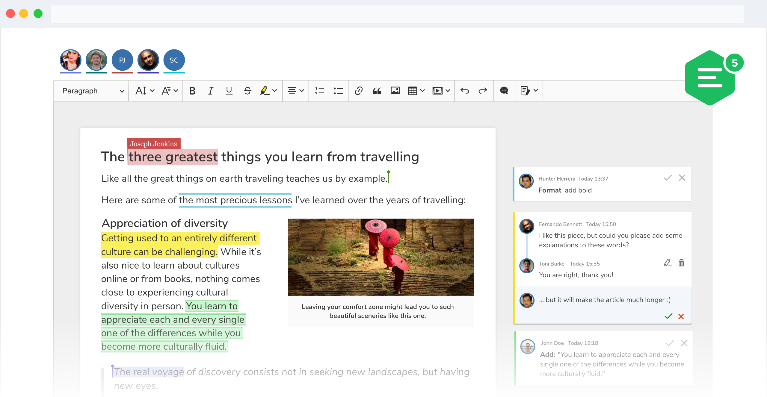Real-time collaboration features in CKEditor 5 WYSIWYG editor screenshot