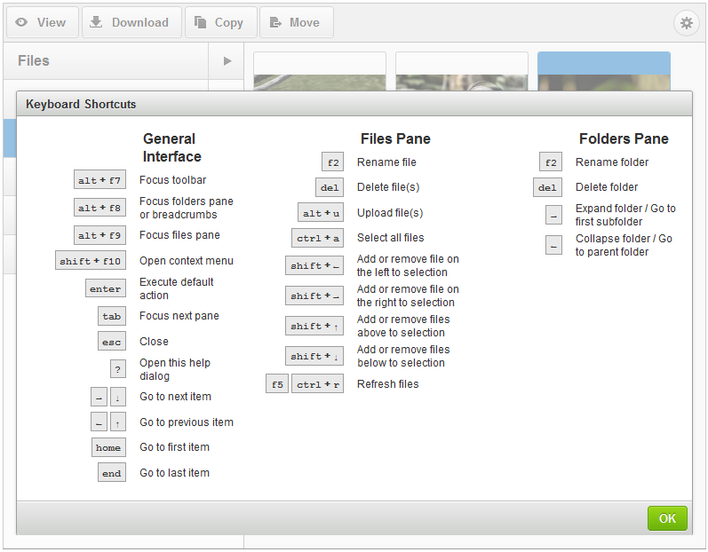 CKFinder 3.1 Keyboard Shortcuts dialog window